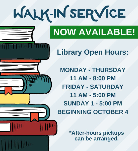 Walk in service now available Monday through Thursday from 11am to 8:45pm and Friday and Saturday from 11am to 4:45pm. For more information call 845-359-0136